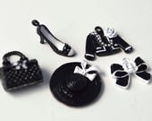 Mixed Fashion Black and White  - 5PC - Purse Hat Bow Jacket Shoes Pearls Pendant Charms Alloy Jewelry Making Supplies MF012318