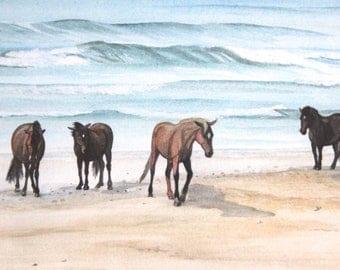 Chincoteague ponies beach Assateague Island horse pony original art framed watercolour painting serenity seascape sand waves pebbles