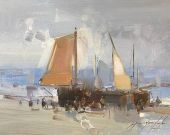 Sail Boats, Seascape, Oil painting, Impressionism, handmade artwork, One of a kind