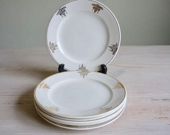 Set of 6 Art Deco plates, white and gold 1930s dinner plates