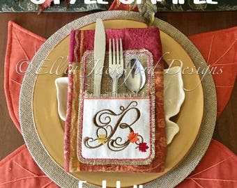 """Fall Monogram """"T""""- Silverware Holder -  SINGLE LETTER  ONLY - Thanksgiving - 4 x 4 and 5 x 7 - Digital Embroidery Design"""