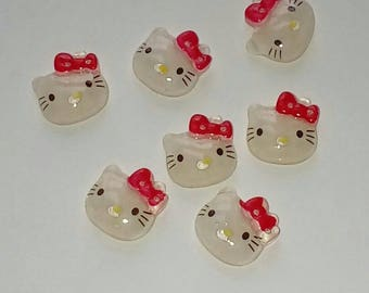 X 6 Cabochons 15mm Red Bow Kitty Cat Head