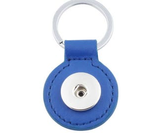 Keychain round Royal Blue faux leather snap button