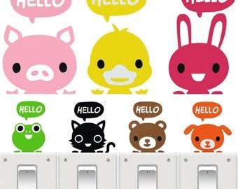 X1 Sticker Animal Hello pour interrupteur
