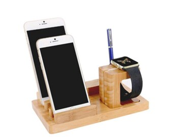 Apple Watch Stand Charging Station Cell Phone Dock - Christmas Gift Father Dad Boyfriend - iPhone Charging Station