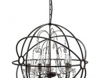 Big Round Iron / Steel Ball Chandelier, Classic Vintage Ceiling Light Fixture