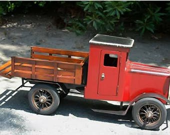 Old Wood Toy Truck with Rubber Tires & Model T Doors Spoke Display Ford Chevy 27""