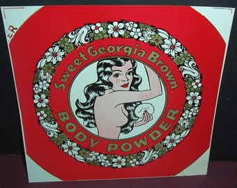 Vintage unused Sweet Georgia Brown body powder label, pin-up