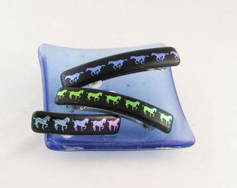 HORSE Barrette - Fused Glass Barrette - Horses on Black - French Barrette - medium to large barrette (1784-3338-4162)