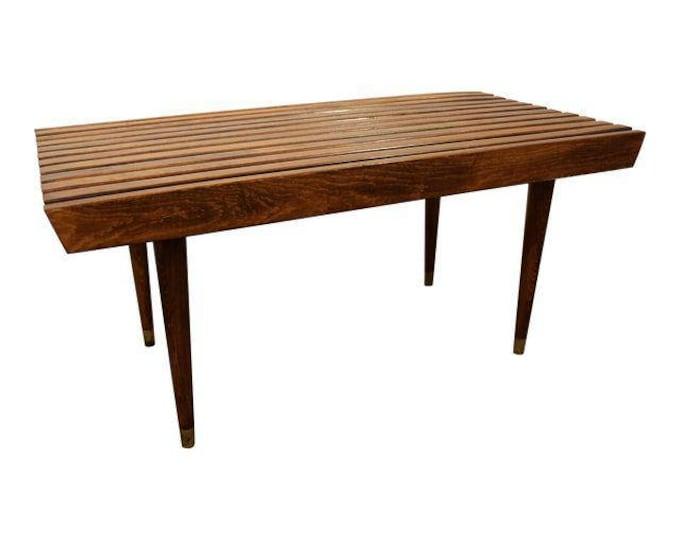 Mid Century Danish Modern Walnut Slat Bench/Coffee Table #4