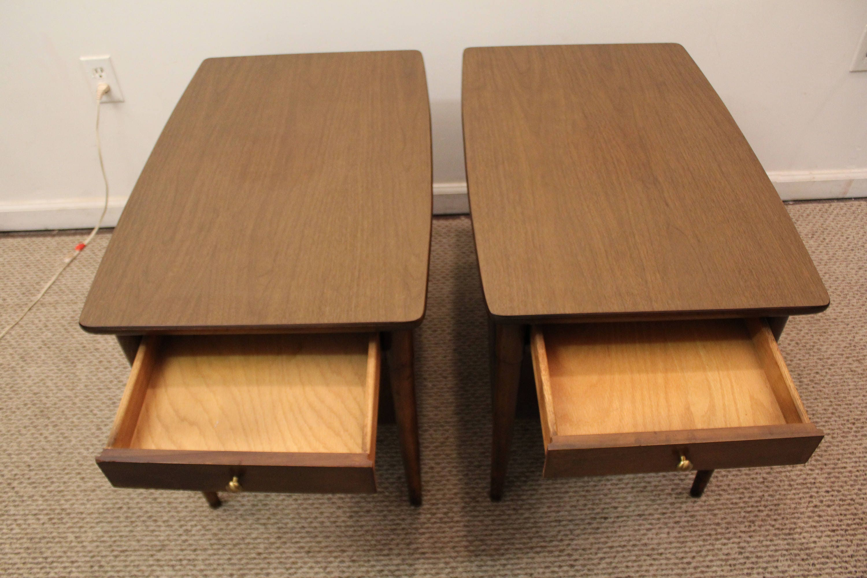 Mid century end tables danish modern walnut tapered leg for Clp annex 6 table 3 1