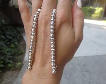 Silver Geo Bead Earrings