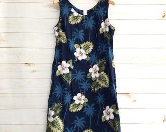 Vintage 80's Hawaiian Blue Floral Sheath Dress Women's Medium
