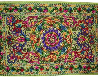 Antique Kashmir's embroidery hand work wall tapestry wall hanging decorative curtain Indian table runner