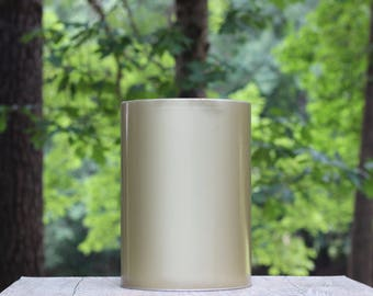 Large Vintage Gold Metal Trash Can / Gold Waste Basket / Simple Trash Can / Large Gold Trash Can / Brushed Gold Trash Can