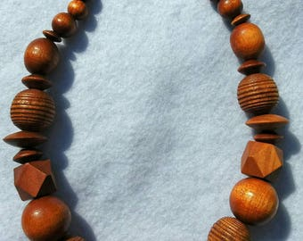 Wooden chunky statement necklace