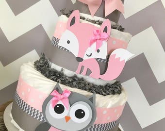 Woodland Diaper Cake in Pink and Gray, Woodland Baby Shower Centerpiece