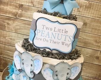 Twin Little Peanuts Diaper Cake for Boys, Twin Boy Baby Shower Centerpiece, Elephant Baby Shower for Twins