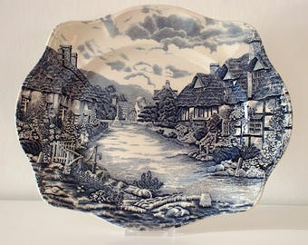 Old English Countryside Serving Platter/Meat Dish in Blue/White by Johnson Brothers, England