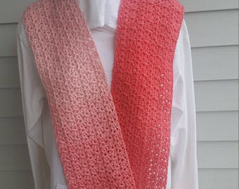 jazzy striping scarf, striping scarf, crochet scarf. (sea coral ombre)