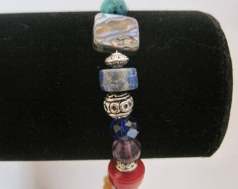 hand made beaded bracelet, multi color