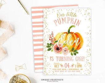 Our Little Pumpkin Invitation, Printable Invitation, Pumpkin Party, Birthday Party, Pumpkin Birthday, 1st Birthday, First Birthday, Fall