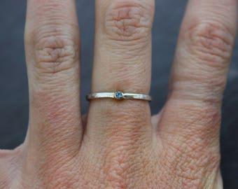 Aquamarine gold bezel silver band stacking ring // handmade jewelry // hammered textured band