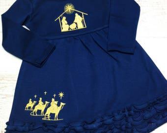 Christmas Dress, Nativity Dress, Girl's Christmas Dress, Christmas Dress baby, Toddler Dress, Christmas Dress Infant