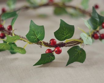 THE LIFY - Green Leaf Red Berry Crown Winter Wreath Woodland Rustic Circlet Bride Wedding Romantic Flower Girl Christmas Berry Valentines