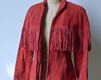 Red Fringe Suede Jacket