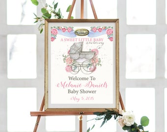 Baby Shower Sign For Girl - Baby Shower Sign In Poster - Baby Shower Sign In Idea - Baby Shower Welcome Sign - Baby Shower Signage - Girl