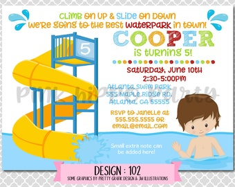 Twisty Water Slide, Waterpark Boy:Design #102-Children's Birthday Invitation, Personalized, Digital, Printable, 4x6 or 5x7 JPG