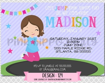 Trampoline Girl, Jump Zone, Gymnastics:Design #124-Children's Birthday Invitation, Personalized, Digital, Printable, 4x6 or 5x7 JPG