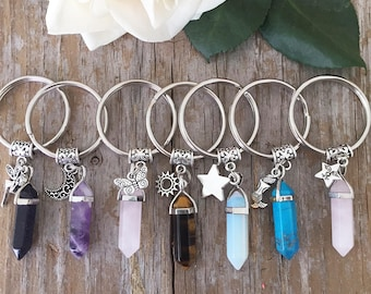 Crystal Keychain/ Fairy Crystal Key Chain/  Crystal Key Chain with Charm/ Crystal Charm Keyring/ Crystal Point Pendant/Custom Crystal
