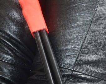 Heavy Hand Held Thudder - Red with Finger Grooves and massive black thud!  Spanking Enthusiasts - BDSM Spanking Paddle / Cane