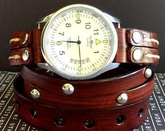 Leather Wrap Watch, Wrist Watch, Leather Watch, Men's Wrap around watch, Chocolate Cherry Watch