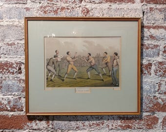 19th century antique English Boxing Print - A price Fight -1820