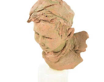 Peter Pan -Beautiful Terracotta Bust -Signed by Jacqueline Spellens
