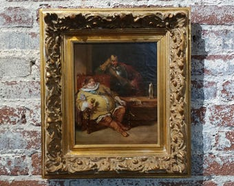 18th century Dutch Oil Painting -Interior scene of Two Nobles Drinking   oil painting on canvas