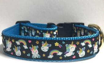 "1"" Rainbows & Unicorns Collar"