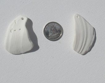 Surf Tumbled Shell , 2pc, XXL Top Drilled, Naturally Surf Tumbled Jewelry Making Pendant Charms (TDSH-XXL-05)