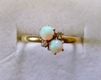 Art Nouveau two white opal diamond accent moi et toi 10k yellow gold october birthstone ring size 5.75