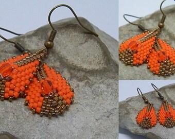 Earrings woven orange and bronze *.