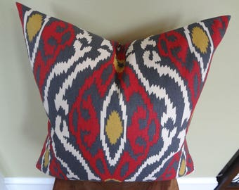 Decorative Pillow Cover Red Grey Yellow & Off White Graphic Patterns Toss Pillow Accent Pillow Throw Pillow