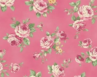 Anniversary Sale Love Rose Love~Medium Roses on Pink~Cotton Fabric~Quiltgate~RU2300-13E~Fast Shipping F841