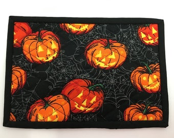 Jack O Lanterns And Spiderwebs Halloween Design Mug Rug, Table Mat,  Placement