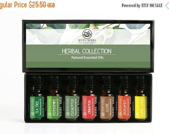 ON SALE Herbal Collection Essential Oils. Tea Tree , Peppermint, Eucaliptus, Cinnamon, Clove, Bergamot, Ylang ylang. Used for Many Holistic