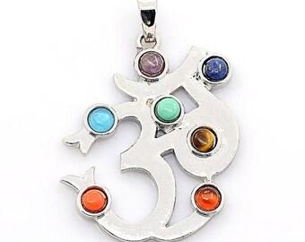 ON SALE Vintage Chakra Om Healing Pendant