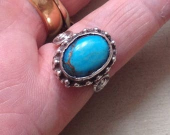 Solid Sterling Silver 7.4g Tribal Faces Braided Bezel Set Natural Blue Turquoise Gemstone Ring Size UK N.5- US 7