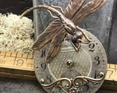 Steampunk Dragonfly necklace pocket watch plate handcrafted art2wear Victorian Magpie